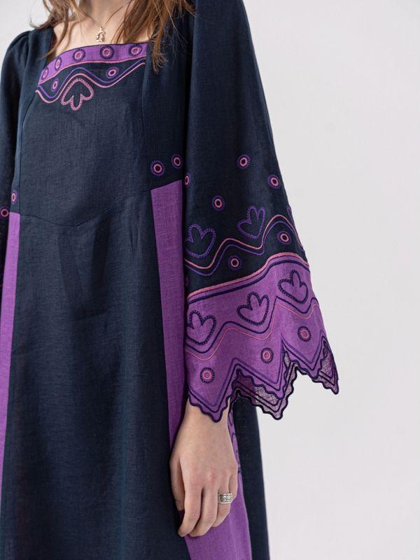 Льняное платье темно-синего цвета Nizhnist Violet Синий Ткань - лен  Рост модели ЕтноДім - фото 4