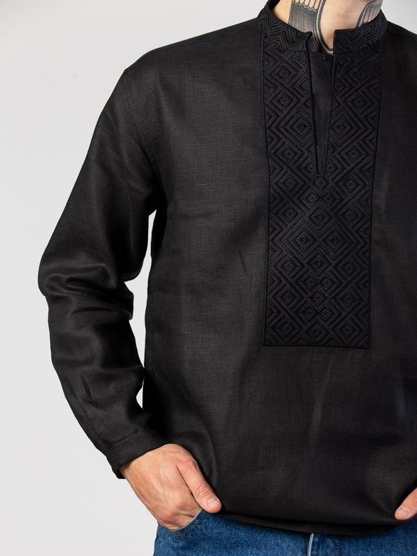 Мужская черная вышиванка с орнаментом в тон Apollo Black Черный Ткань - лен (черный) Тех ЕтноДім - фото 4