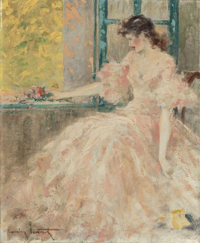 Задумчивая женщина  печать на холсте, натянут Икар Луи - фото 1