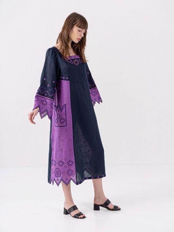 Льняное платье темно-синего цвета Nizhnist Violet Синий Ткань - лен  Рост модели ЕтноДім - фото 2
