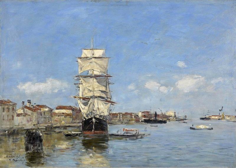 Судно у пристани, Венеция, Канал де-ла-Джудекка  печать на холсте, натянут Буден Эжен - фото 1
