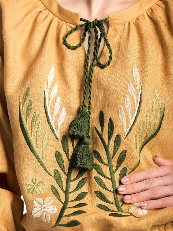 Льняная вышитая блуза на резинке Nature 2 Бежевый  Ткань - лен. Цвет – бежев ЕтноДім - фото 3