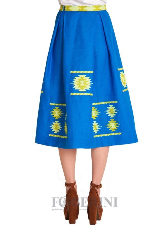"Вышитая юбка ""Символ""  100% лен FOBERINI - фото 3"