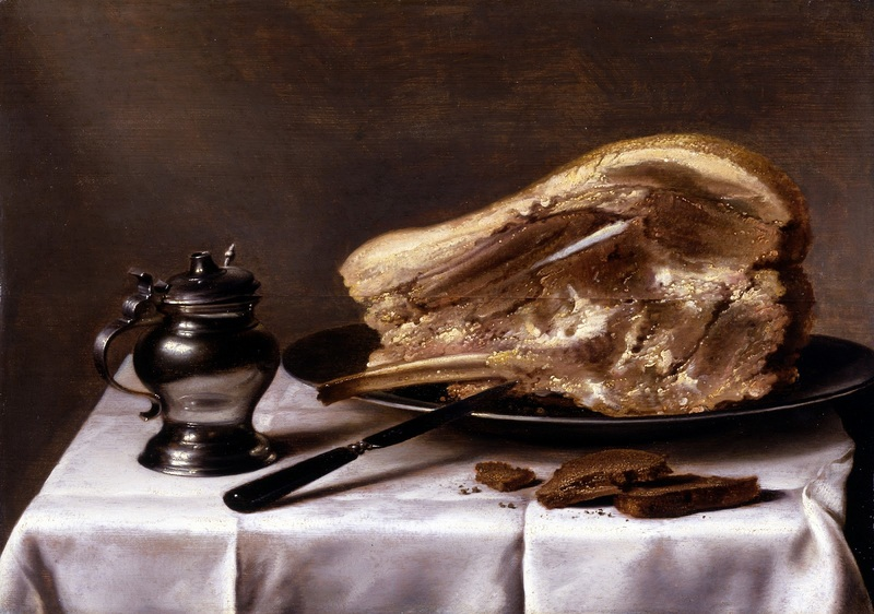 Натюрморт с ветчиной  печать на холсте, натянут Клас Питер - фото 1