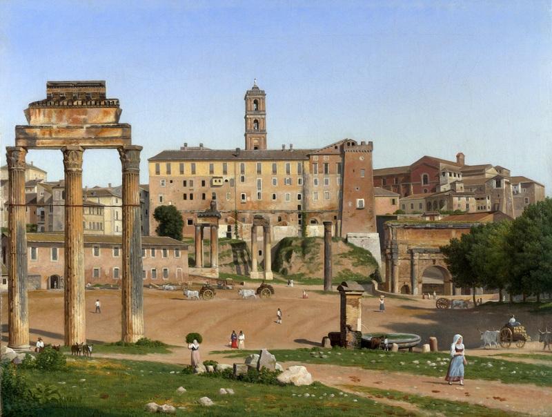 Вид на форум в Риме  печать на холсте, натянут Эккерсберг Кристоффер Вильхельм - фото 1