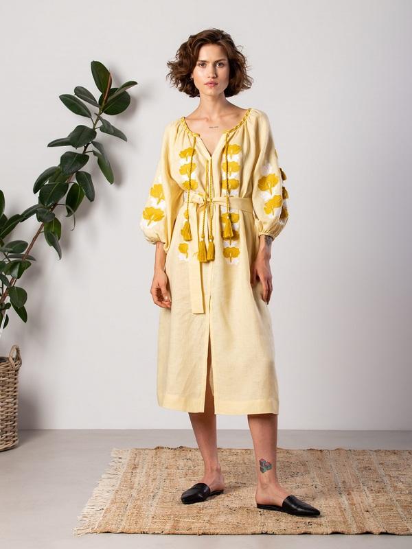 Легкое желтое платье с вышивкой Jawa Желтый Ткань - лен 100% Вышивка ЕтноДім - фото 1