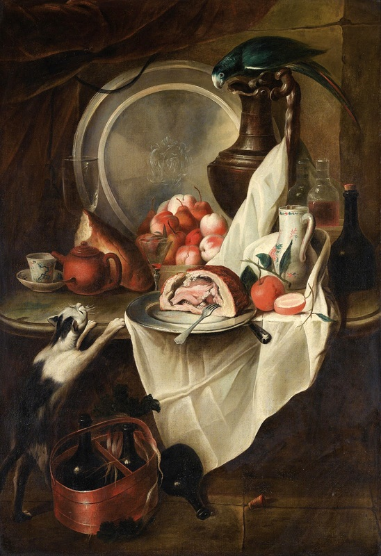 Натюрморт с фруктами, ветчиной, котом и попугаем  печать на холсте, натянут Депорт Александр Франсуа - фото 1