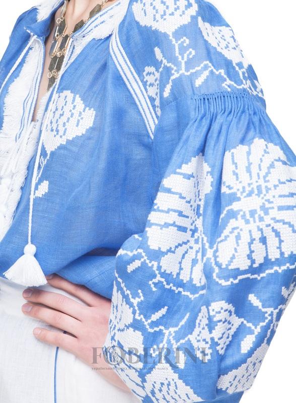 """Вышиванка """"Голубая лилия"""" Голубой Лён 100% FOBERINI - фото 2"""