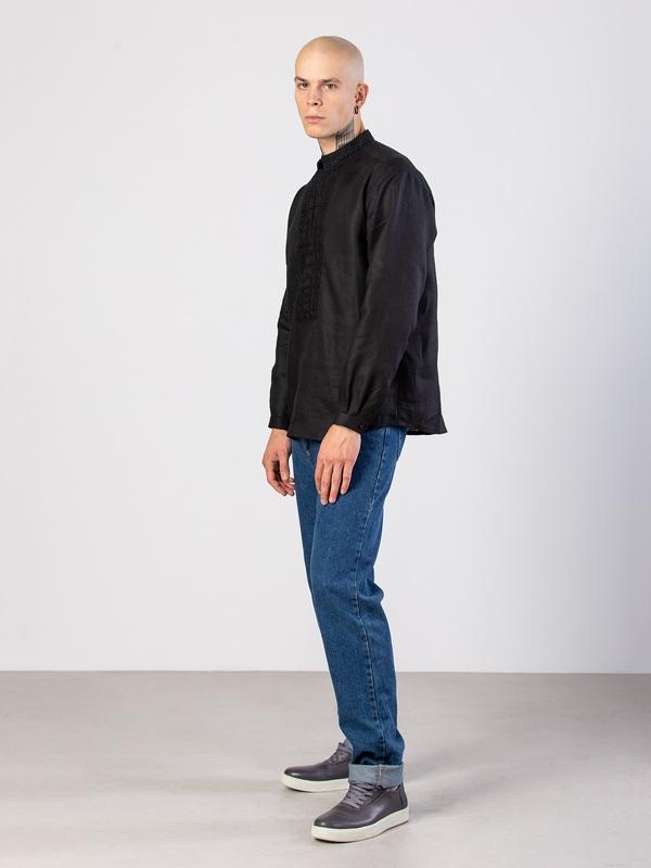 Мужская черная вышиванка с орнаментом в тон Apollo Black Черный Ткань - лен (черный) Тех ЕтноДім - фото 2