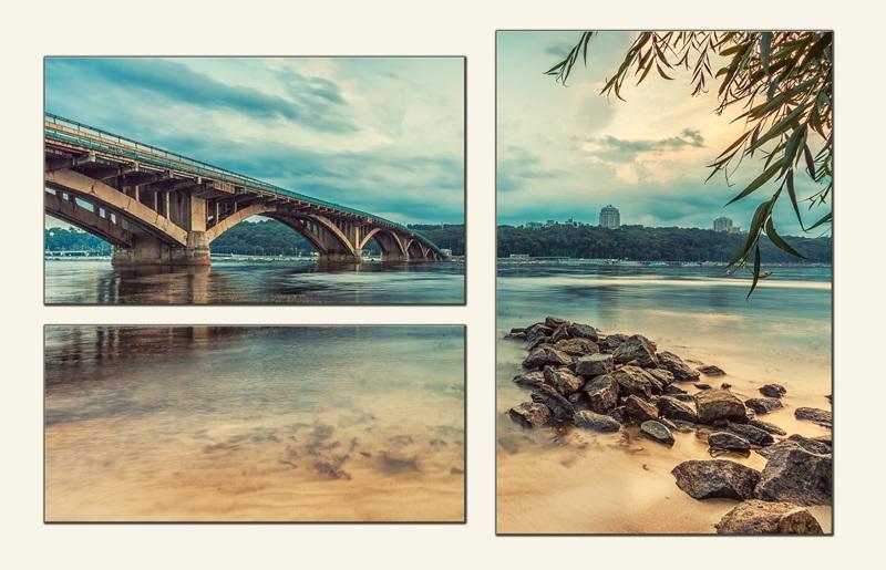 Киевский метрополитен. Мост в вечернее время №1  печать на холсте, натянут UkrainArt - фото 1