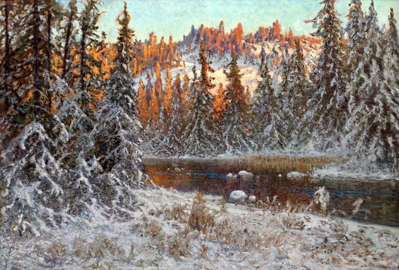 Декабрьский вечер на лесном озере, Даларна  печать на холсте, натянут Шультцберг Ансельм - фото 1