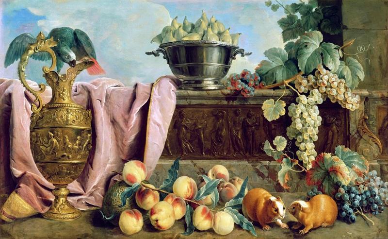 Натюрморт с фруктами, кувшином, попугаем и морскими свинками  печать на холсте, натянут Депорт Александр Франсуа - фото 1