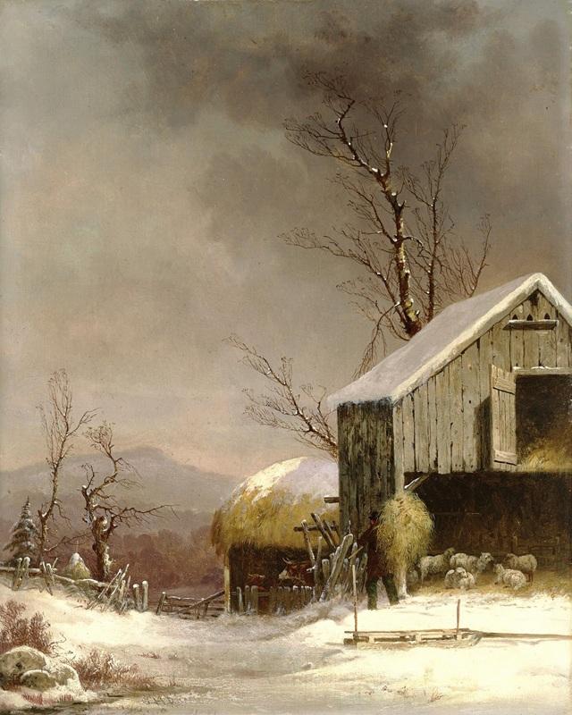 Зимняя сцена на ферме, Коннектикут  печать на холсте, натянут Дуррие Джордж Генри - фото 1