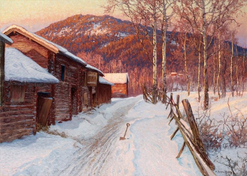 Зимнее солнце в провинции Даларна  печать на холсте, натянут Шультцберг Ансельм - фото 1