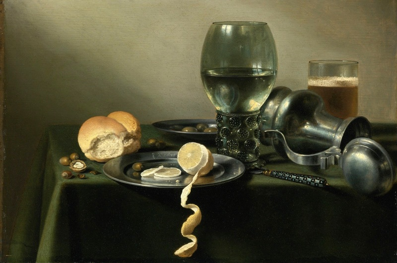 Натюрморт с оловянной посудой, рёмером, лимоном, хлебом и др объектами  печать на холсте, натянут Клас Питер - фото 1