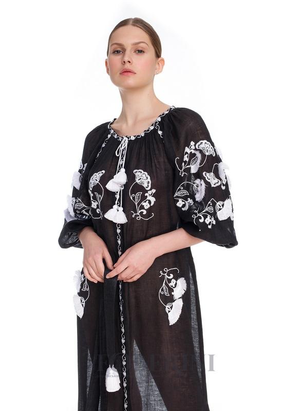Туника-вышиванка «Жасмин» Черный высококачественный лен FOBERINI - фото 6