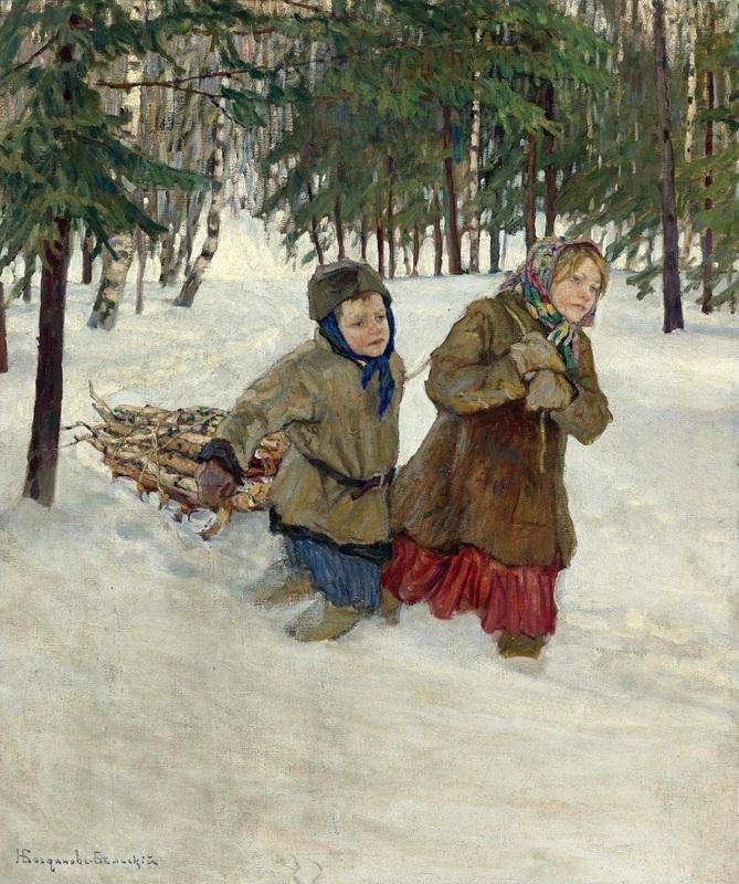 Везущие дрова по снегу  печать на холсте, натянут Богданов-Бельский Николай - фото 1
