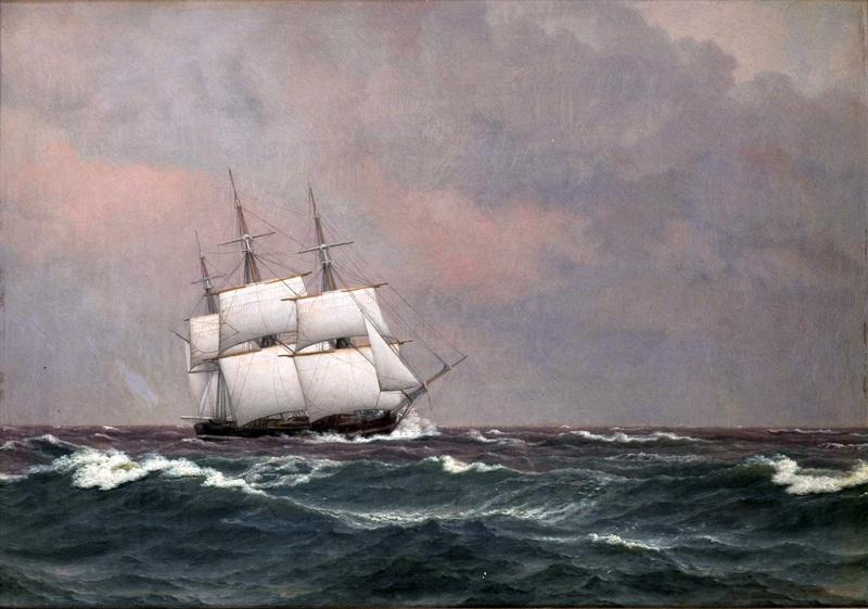 Корвет Najaden в бурном море  печать на холсте, натянут Эккерсберг Кристоффер Вильхельм - фото 1