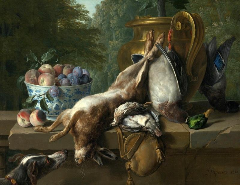 Натюрморт с битой дичью и миской с персиками и сливами  печать на холсте, натянут Депорт Александр Франсуа - фото 1