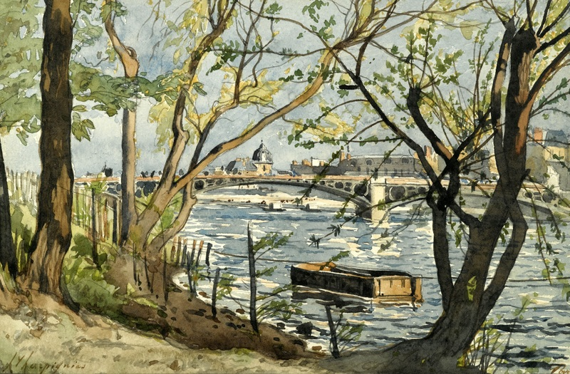 Le Pont du Carrousel sur la Seine  печать на холсте, натянут Арпиньи Анри Жозеф - фото 1