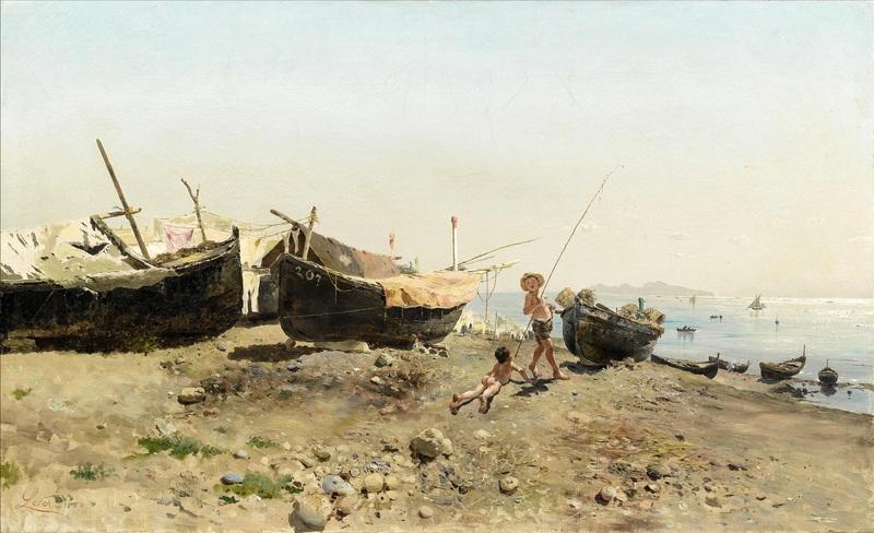 Sulla riva Mergellina  печать на холсте, натянут Лето Антонио - фото 1