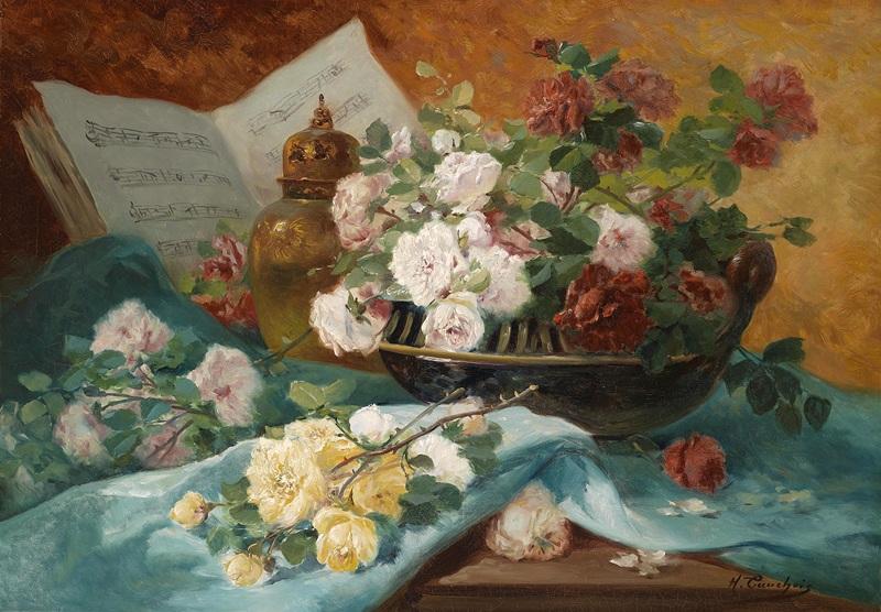 Натюрморт с розами в чашке  печать на холсте, натянут Кошуа Эжен Анри - фото 1
