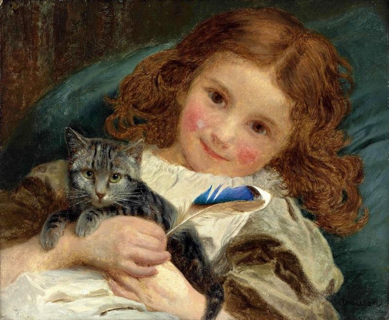 Девочка с котенком  печать на холсте, натянут Жанжамбр Андерсон Софи - фото 1