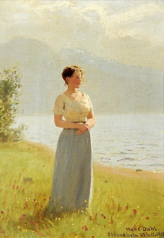 Девушка рядом с фьордом  печать на холсте, натянут Даль Ханс - фото 1