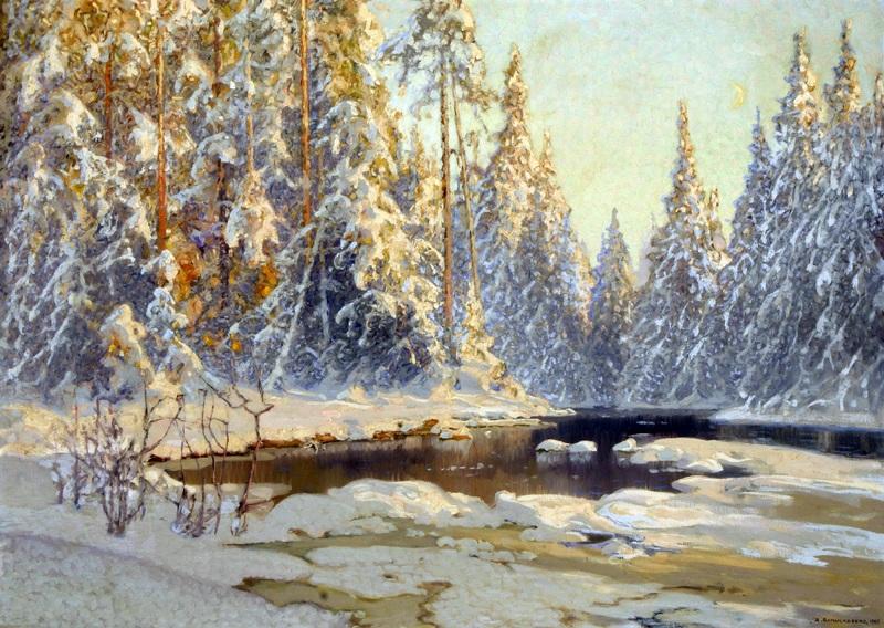 Зима в лесу  печать на холсте, натянут Шультцберг Ансельм - фото 1
