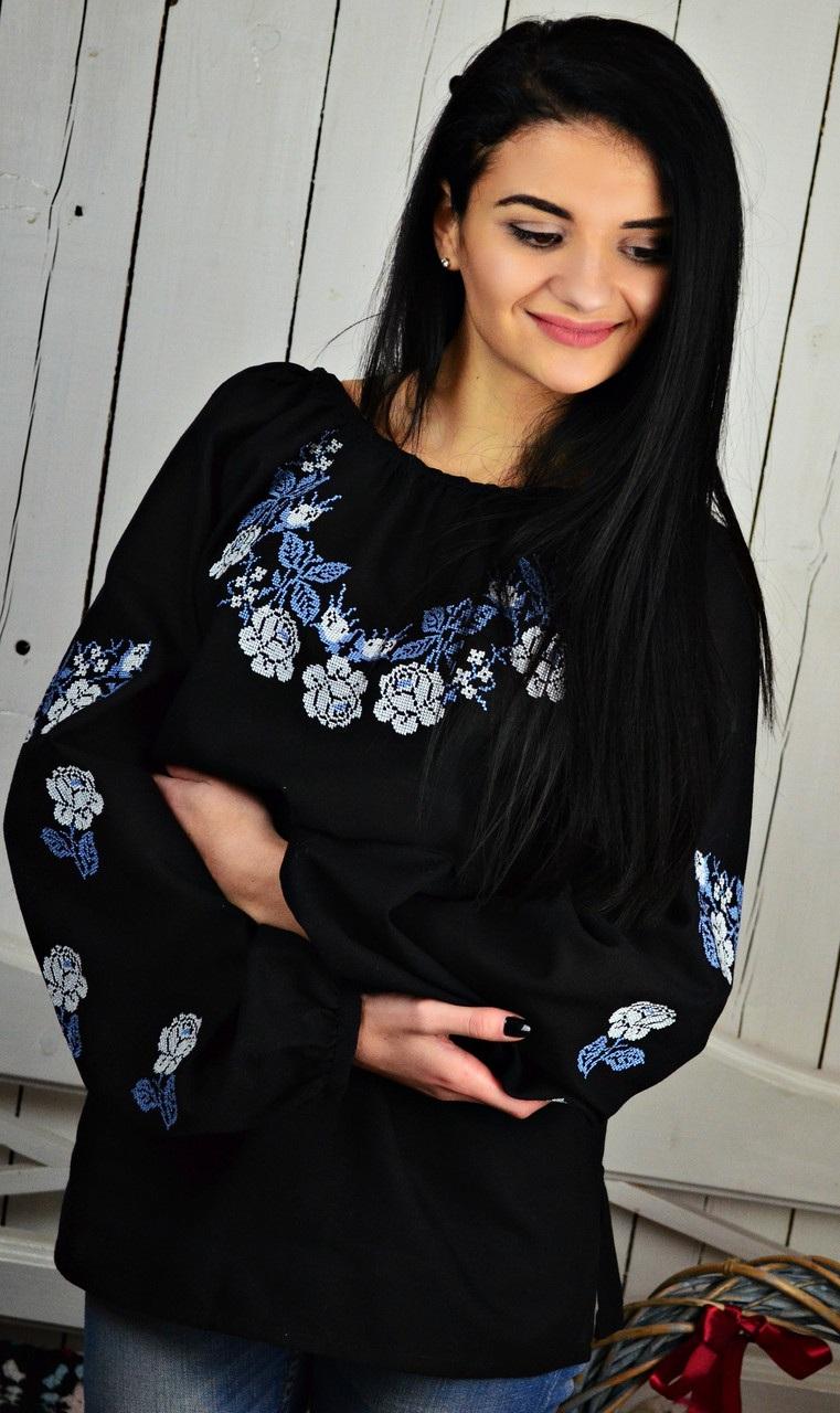 Женская вышитая блуза UA-13  Домотканое полотно. Вышив Бандерівка - фото 1