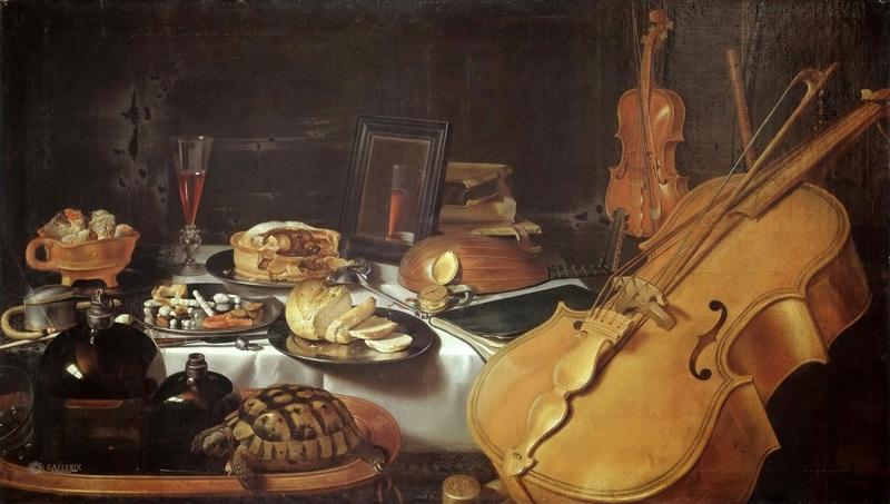 Натюрморт с музыкальными инструментами  печать на холсте, натянут Клас Питер - фото 1