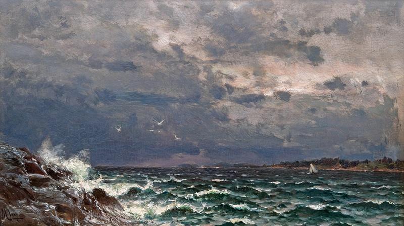 Бурное море  печать на холсте, натянут Мунстеръелм Ялмар - фото 1