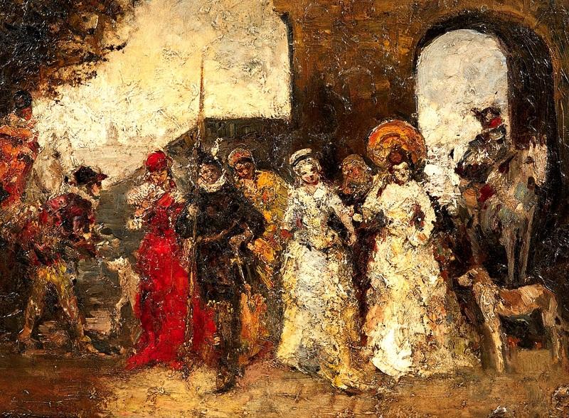 Прогулка перед воротами  печать на холсте, натянут Монтичелли Адольф Жозеф Тома - фото 1