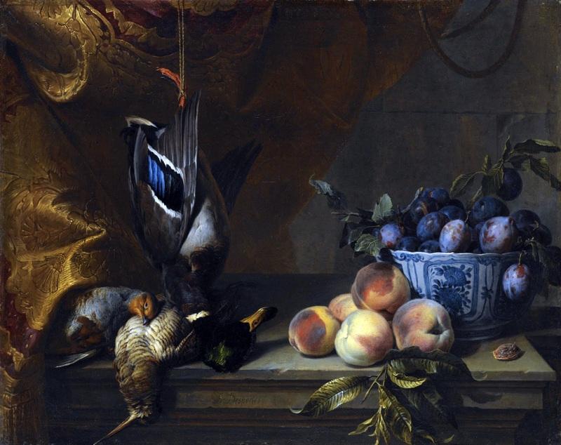 Натюрморт с битой дичью, персиками и миской со сливами  печать на холсте, натянут Депорт Александр Франсуа - фото 1