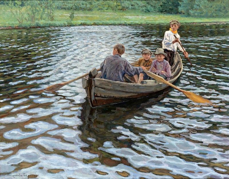 На озере  печать на холсте, натянут Богданов-Бельский Николай - фото 1