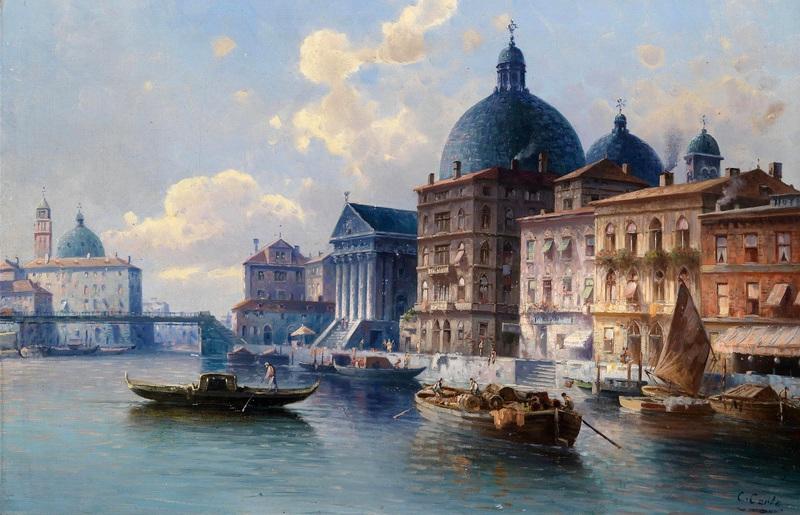 Канал в Венеции  печать на холсте, натянут Кауфман Карл - фото 1