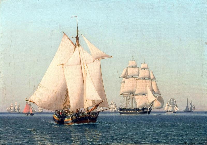 Корабли под парусами в слабый ветер в ясный летний день  печать на холсте, натянут Эккерсберг Кристоффер Вильхельм - фото 1