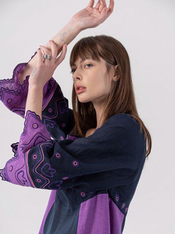 Льняное платье темно-синего цвета Nizhnist Violet Синий Ткань - лен  Рост модели ЕтноДім - фото 5