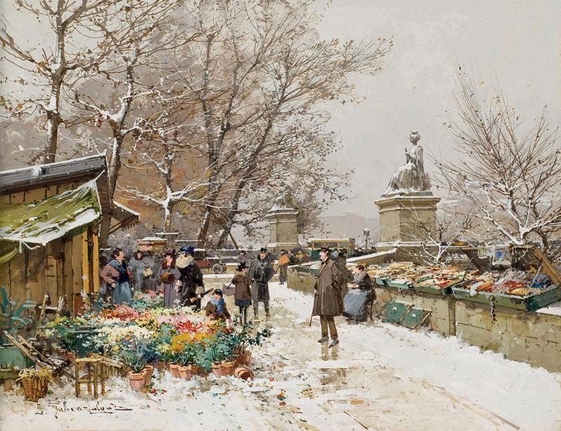 Париж, цветочный рынок  печать на холсте, натянут Гальен-Лалу Эжен - фото 1