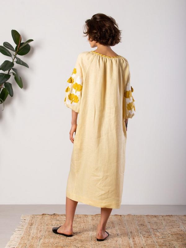 Легкое желтое платье с вышивкой Jawa Желтый Ткань - лен 100% Вышивка ЕтноДім - фото 3