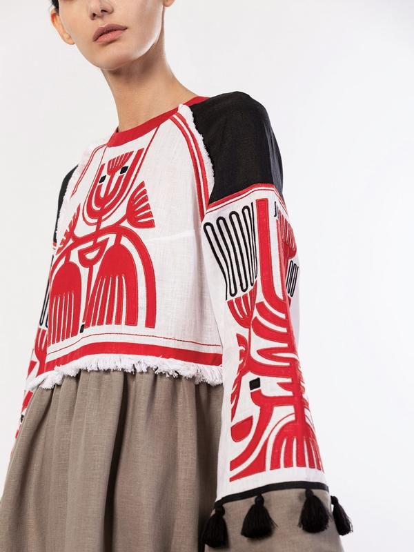 Льняное платье с аппликацией на груди Icon Red Белый Ткань - лен 100% Вышивка ЕтноДім - фото 3