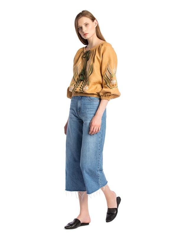Льняная вышитая блуза на резинке Nature 2 Бежевый  Ткань - лен. Цвет – бежев ЕтноДім - фото 4