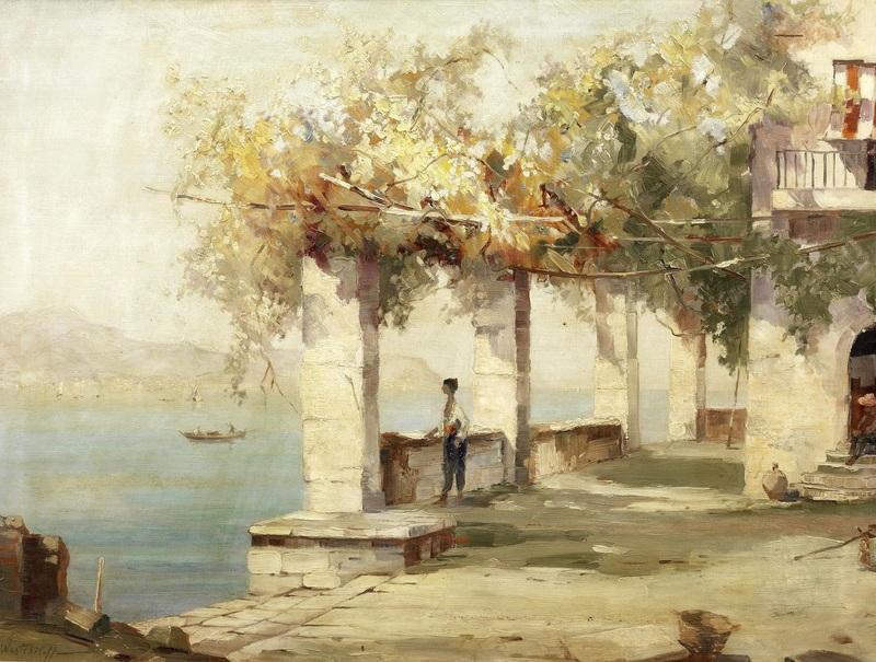Летняя терраса, Неаполь  печать на холсте, натянут Вещилов Константин - фото 1
