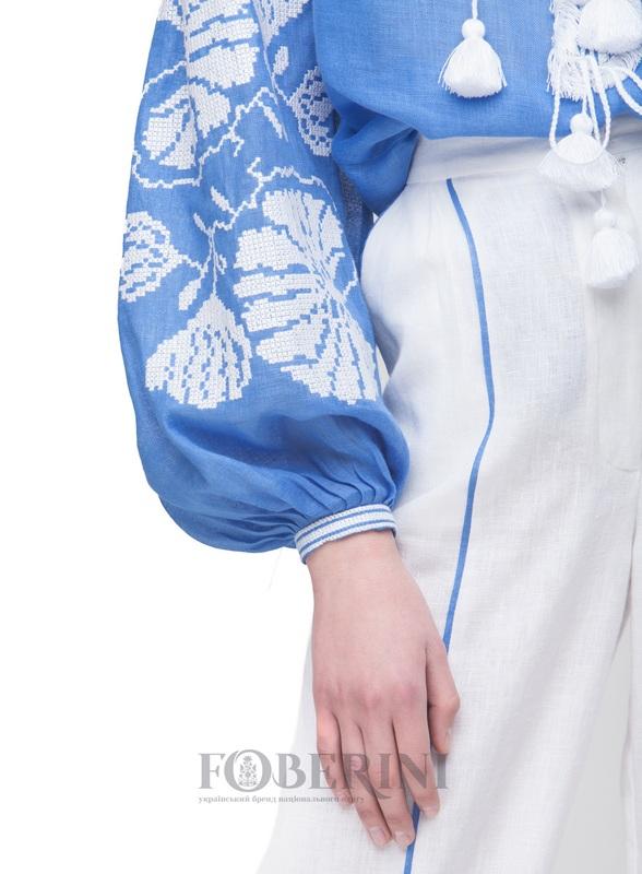 """Вышиванка """"Голубая лилия"""" Голубой Лён 100% FOBERINI - фото 6"""