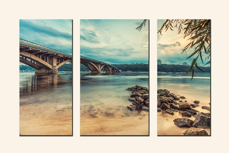 Киевский метрополитен. Мост в вечернее время №2  печать на холсте, натянут UkrainArt - фото 1