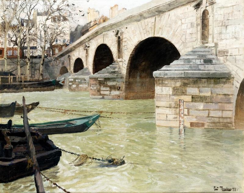 Мост Понт Мари в Париже  печать на холсте, натянут Таулов Фриц - фото 1