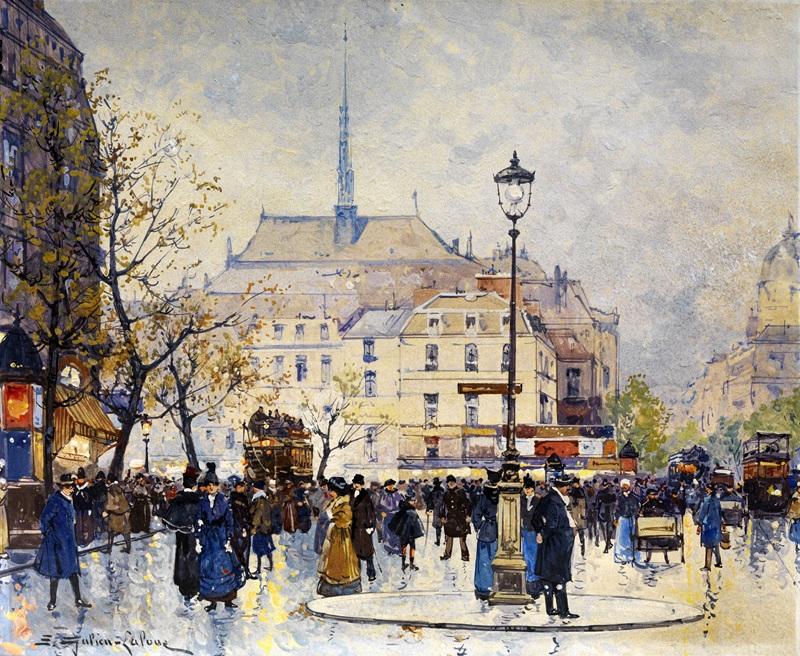 Сцена на Парижских улицах  печать на холсте, натянут Гальен-Лалу Эжен - фото 1