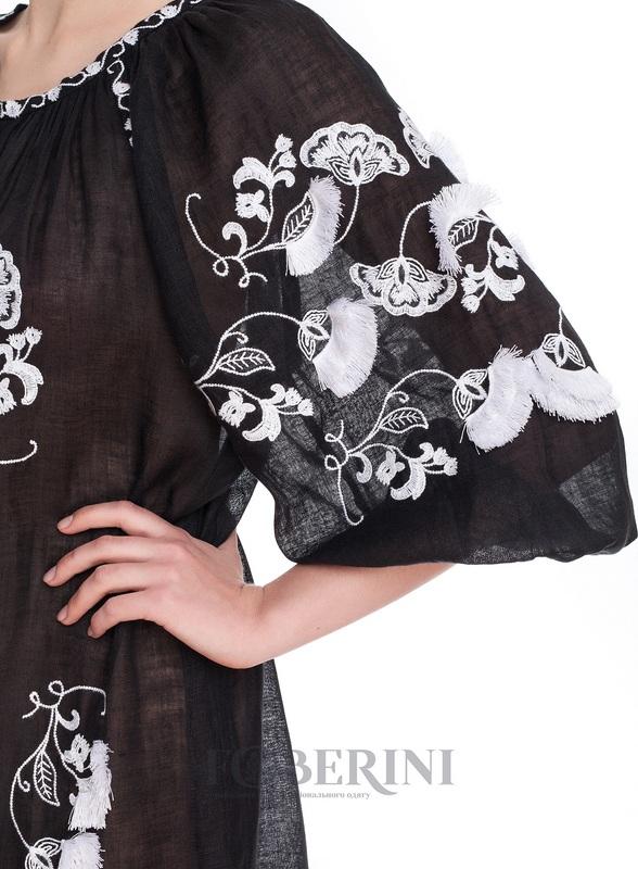 Туника-вышиванка «Жасмин» Черный высококачественный лен FOBERINI - фото 5