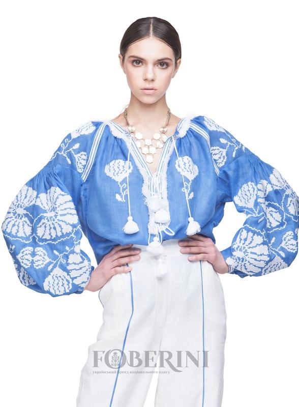 """Вышиванка """"Голубая лилия"""" Голубой Лён 100% FOBERINI - фото 4"""