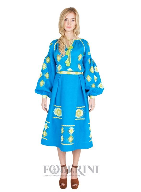 "Вышитая юбка ""Символ""  100% лен FOBERINI - фото 1"